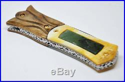 Ayothaya Custom Handmade Folding Knife Mosaic Damascus Jade Gold Pearl Carve 24K