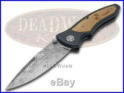 BOKER TREE BRAND Tirpitz Damascus Aluminum Walnut Wood Folding Liner Lock Knives