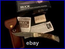 BUCK Damascus/Stag Folding Hunter Knife -110DM -110 -NEW