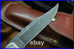 BUCK KNIFE 110 FOLDING HUNTER VINTAGE STAG & DAMASCUS With SHEATH BOX PAPERS
