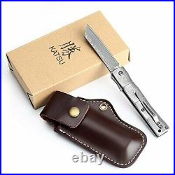 Bamboo Style Full Damascus Steel Folding Knife with Pocket Clip 7.5 Inch L