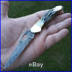 Bear & Son Lockback Folding Knife 2.75 Damascus Blade India Stag Bone Handle