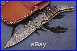 Beautiful CUSTOM MADE DAMASCUS STEEL BLADE FOLDING KNIFE FREE LEATHER SHEATH USA