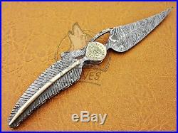 Beautiful Custom Made Leave Folding Knife. (twist)full Tang Damascus Steel A. K-22