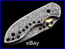Beautiful Deep Hand Engrave Handmade D 2 Steel Folding Knife