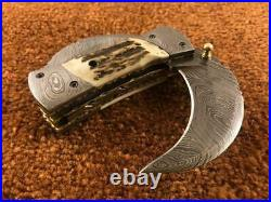Beautiful Handmade Damascus Steel Double Blade Folding Pocket Knife Stage Handle