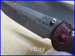 Benchmade stryker 908-161 gold class # 196 folding knife damascus, carbon fiber