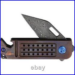 Bestech Ball Lock Folding Knife 1.75Damascus Steel Blade Bronze Titanium Handle
