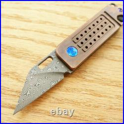 Bestech Folding Knife 1.75 Damascus Steel Blade Black Stonewash Titanium Handle