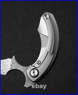 Bestech Knives STRELIT Folding Knife 2.19 Damascus Blade Grey Titanium Handle