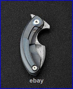 Bestech Strelit Framelock Folding Knife Damascus Steel Blade Titanium Handle