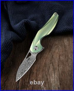 Bestech The Reticulan Folding Knife 2 Damascus Steel Blade Titanium Handle