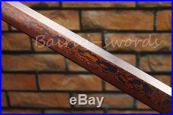 Blood Blade Tang Samurai Sword Hand Forged Damascus Folded Steel Ninja Knife