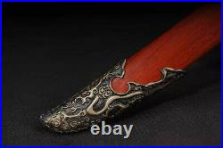 Blood Red Blade Damascus Folded Steel Chinese Saber Sword Battle Ready Knife