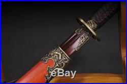 Blood Red Blade Folded Damascus Steel Chinese Saber Sword Battle Ready Knife