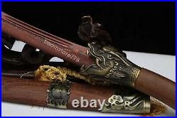 Blood Red Damascus Folded Steel Chinese Saber Dragon Knife Sharp