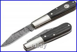 Boker Barlow Classic Folding Knife Damascus Steel Clip Blade Oak Handle