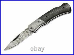 Boker DC Lockback Folding Knife 2.38 Damascus Steel Blade Carbon Fiber Handle