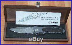 Boker Germany 110129dam Leopard III Damascus Steel Folding Knife Aluminum & Wood