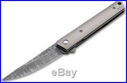 Boker Kwaiken Folding Knife 3.5 Damascus Steel Blade Titanium Handle 01BO297DAM