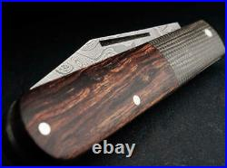 Boker Leopard Folding Knife 2.64 Damascus Steel Blade Ironwood / Micarta Handle