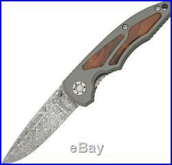 Boker Linerlock Folding Knife Damascus Steel Drop Point Blade Aluminum Handle