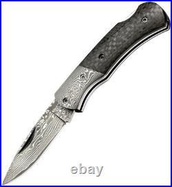 Boker Magnum DC Lockback Folding Damascus Steel Black Handle Knife M01MB739DAM