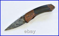 Brandant Robinson Guardian Custom Folding Knife Feather Damascus + CuZr Mokume