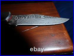 Brett Martin Custom Hand-Made-Damascus Blade-Folding Knife-NIWB! Must See