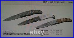 Browning Damascus Folding Knife 3 Drop Point Blade Fossil Handles 3220242