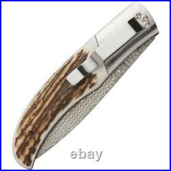 Browning Illusion Linerlock Folding Knife 3 Damascus Steel Blade Stag Handle