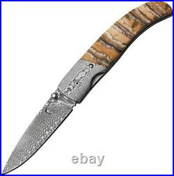 Browning Linerlock Folding Knife 3 Damascus Steel Blade Mammoth Tooth Handle