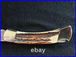 Buck 110 V 110 DM Damascus Stag Folding Hunter Knife With Box no sheath Cat# 1684
