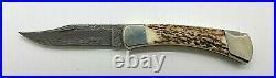 Buck 110X(1990) Model 110DM Damascus /Stag Folding Hunter Knife With Sheath/Box