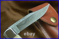 Buck Knife 110 Folding Hunter Vintage Stag & Damascus With Sheath Nice