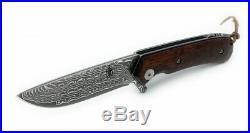 BucknBear Swiss Damascus Steel Ball Bearing Folding Knife Snakewood Handle