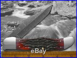 CASE XX Damascus Crimson Red Bone Folding Hunter 74174 Pocket Knives Knife