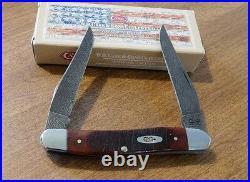CASE XX New Chestnut Saw Cut Bone Handle Damascus 2 Blade Muskrat Knife/Knives