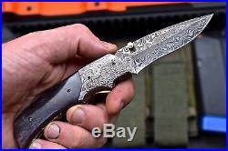 CFK DAVID YELLOWHORSE Custom Handmade Damascus Folding SPIDER SCRIMSHAW Knife