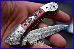 CFK DAVID YELLOWHORSE Custom Handmade Damascus SCRIMSHAW SPIDER Folding Knife