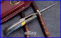 CFK USA Clear-Lake-Forge Handmade Damascus Turquoise Bone Folding Pocket Knife