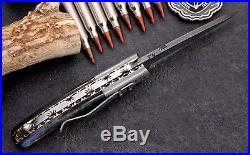 CFK USA Custom Handmade Damascus FOREST Scrimshaw Art Folding Pocket Camp Knife