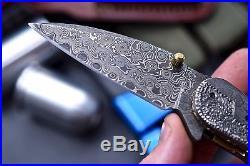 CFK USA DAVID YELLOWHORSE Custom Handmade Damascus Folding EAGLE SCRIMSHAW Knife