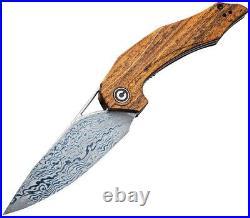 CIVIVI Civc904ds2 Plethiros Linnerlock Sandalwood Handle Damascus Folding Knife