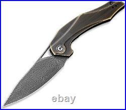 CIVIVI Civc904ds3 Plethiros Linnerlock Brass Handle Damascus Folding Knife