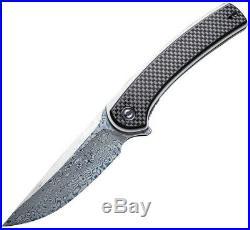 CIVIVI Knives Civc2002ds1 Asticus Linerlock Cf Damascus Steel Folding Knife