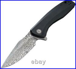 CIVIVI Knives Civc801ds Baklash Black G10 Handle Damascus Folding Knife