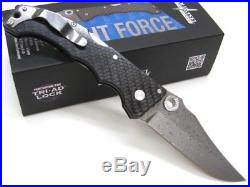 COLD STEEL Carbon Fiber NIGHT FORCE Straight DAMASCUS Folding Pocket Knife! 63NF
