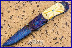 CUSTOM HANDMADE Folding Knife Color Damascus Honey Pearl Topaz 24K Gold Screw FS