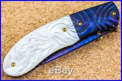 CUSTOM HANDMADE Folding Knife Color Damascus White Pearl 24K Gold Screw Amethyst